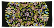 Floral Mandala Pattern Beach Towel