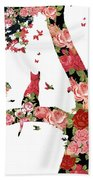 Floral Minimalist Style Cat, Tree And Birds Beach Towel