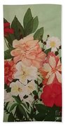 Floral On Green Beach Towel