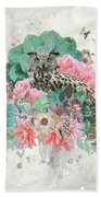 Floral Owl Beach Towel