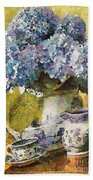 Floral Table Onset In Tiny Bubbles Beach Towel