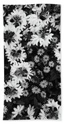 Floral Texture In Black And White Beach Towel