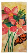 Floral With Butterfly Beach Towel
