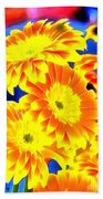 Floral Yellow Painting Lit Beach Towel