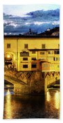 Florence - Ponte Vecchio Sunset From The Oltrarno - Vintage Version Beach Towel