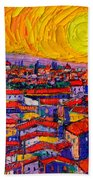 Florence Sunset 10 Modern Impressionist Abstract City Knife Oil Painting Ana Maria Edulescu Beach Towel