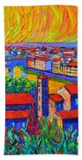 Florence Sunset 4 Modern Impressionist Abstract City Impasto Knife Oil Painting Ana Maria Edulescu Beach Towel