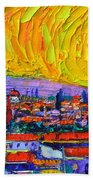 Florence Sunset 5 Modern Impressionist Abstract City Impasto Knife Oil Painting Ana Maria Edulescu Beach Towel