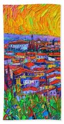 Florence Sunset 7 Modern Impressionist Abstract City Impasto Knife Oil Painting Ana Maria Edulescu Beach Towel