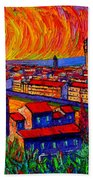 Florence Sunset 9 Modern Impressionist Abstract City Impasto Knife Oil Painting Ana Maria Edulescu Beach Towel