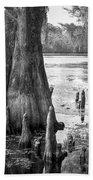 Florida Cypress, Hillsborough River, Fl In Black And White Beach Towel