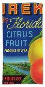 Florida Eureka Citrus Fruit Crate Label Beach Towel