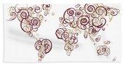 Florida State University Colors Swirl Map Of The World Atlas Beach Towel
