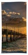 Florida Sunrise At Dania Beach Pier Beach Towel