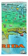 Florida Usa Cartoon Map Beach Towel
