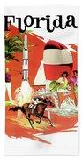 Florida, Vintage Travel Poster Beach Towel