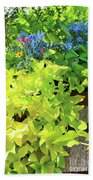 Flower Among Leaves Beach Towel