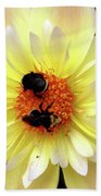 Flower And Bees Beach Towel
