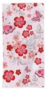 Flower And Butterfly Bj01 Beach Towel