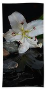 Flower And Stone Beach Towel