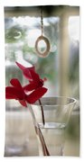Flower And Window Beach Towel