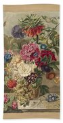 Flower Arrangement, Anthonie Van Den Bos, 1778 - 1838 B Beach Towel