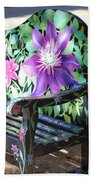 Flower Bench Beach Towel