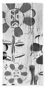 Flower Face B W Beach Towel