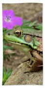 Flower, Frog, Fly Beach Towel