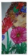 Flower Goddess  Beach Towel
