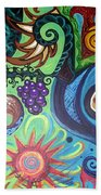 Flower Goyle With Grapes Beach Towel