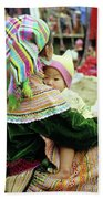 Flower Hmong Mother And Baby 02 Beach Towel