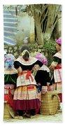 Flower Hmong Women 02 Beach Towel