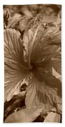Flower In Sepia Beach Towel