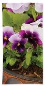 Flower - Pansy - Purple Pansies Beach Towel