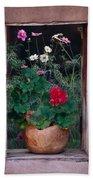 Flower Pot In Window Beach Towel