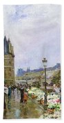 Flower Sellers By The Seine Beach Towel
