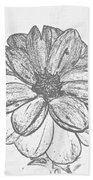 Flower Sketch Beach Towel
