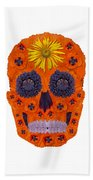 Flower Skull 1 Beach Towel