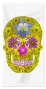 Flower Skull 3 Beach Towel