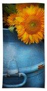Flower - Sunflower - Little Blue Sunshine  Beach Towel