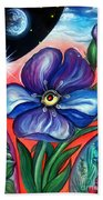 Flower With Eye. Plant From Space Beach Towel