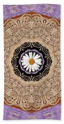 Flower With Wood Embroidery Beach Towel