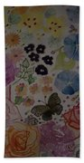 Flowers And Butterfly Beach Towel