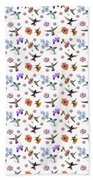 Flowers And Hummingbirds 1 Beach Towel