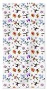 Flowers And Hummingbirds 1 Beach Sheet