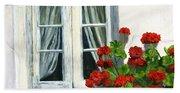 Flowers At The Window Beach Towel