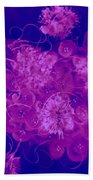 Flowers, Buttons And Ribbons -shades Of  Blue To Fuchsia Beach Towel