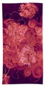 Flowers, Buttons And Ribbons -shades Of Burbundy Rose Beach Towel