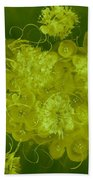 Flowers, Buttons And Ribbons -shades Of Chartreuse Beach Towel